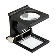 Foldable Scale Magnifier LED Illumination Light Printing Fabric 12x Magnification Lupa Optical Lenses Magnifying Glass
