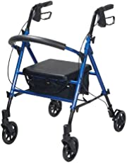 """Drive Medical Adjustable Height Rollator with 6"""" Wheels, Blue, 1 Each 1 count"""