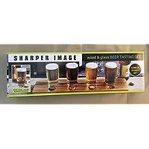 Sharper Image Beer Tasting Set with Wood Tray and 4 Glass Tasting Glasses / 7.5 oz Sampler Bachelor Gift