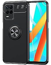 zl one Compatibel met/Vervanging voor telefoonhoesje Realme V13 5G / Q3 5G / Q3i 5G / Realme 8 5G / Narzo 30 5G metalen ring achterkant ultradunne TPU-bumper (zwarte cover zwarte ring)