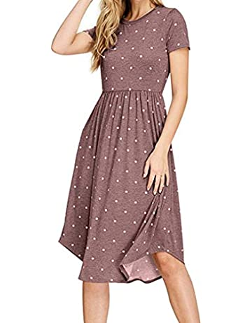 1a0b2cfdc8 HAOMEILI Women Short Sleeve Pleated Polka Dot Pocket Swing Casual Midi Dress