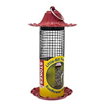 Stokes Select Little-Bit Feeders Sunflower Bird Feeder with Metal Roof, Red, .5 lb Seed Capacity