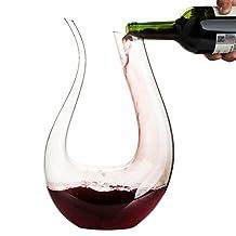 Wine Decanter,WBSEos 1.5L U Shape Classic Wine Aerator,100% Lead-free Crystal Glass,Red Wine Carafe,Wine Accessories(1500ml)