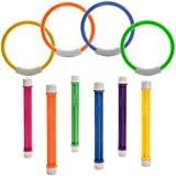 Diving Rings Durable Swim Dive Toys Colorful Pool Sink Ring Toys Numbered Diving Sticks Easily Grab Swimming Pool Toys For Kids Diving