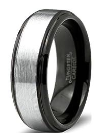 Tungsten Wedding Band Ring 8mm for Men Women Comfort Fit Black Enamel Beveled Edge Polished Brushed Lifetime Guarantee