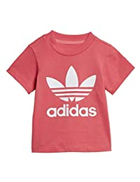 adidas Originals Kid's Trefoil Tee Shirt, Real Pink/White,
