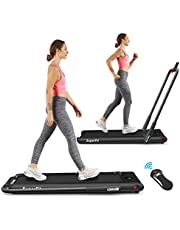 Goplus 2 in 1 Folding Treadmill, 2.25HP Under Desk Electric Superfit Treadmill, Installation-Free with APP Control, Remote Control, Blue Tooth Speaker and LED Display, Walking Jogging for Home Use