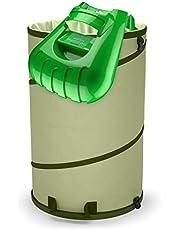 Collapsible 30-Gallon Canvas Garden Waste Bag Pop-up Reusable Yard Leaf Bag Holder- Heavy Duty Hardened Bottom + Ergonomic Large Leaf Scoop Hand Rakes Garden Trash Bag