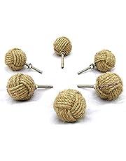Juego de 6 tiradores de cajón redondos de cuerda de yute 6,5 x 4 x 4 cm de Bhartiya Handicrafts