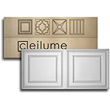 """10 pc - Ceilume Stratford Ultra-Thin Feather-Light 2x4 Lay In Ceiling Tiles - For Use In 1"""" T-Bar Ceiling Grid - Drop Ceiling Tiles (White)"""