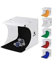 PULUZ 20cm Folding Portable 550LM Light Photo Lighting Studio Shooting Tent Box Kit with 6 Colors Backdrops (Black, White, Orange, Red, Green, Blue), Unfold Size: 24cm x 23cm x 22cm