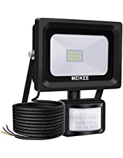 MEIKEE Faretto 10W con Sensore, IP66 Impermeabile Faretto LED Sensore di Movimento, Super Luminoso Proiettore LED Esterno Sensore 6000K 1000LM, Illuminazione LED Floodlight Bianco Freddo per Cortile