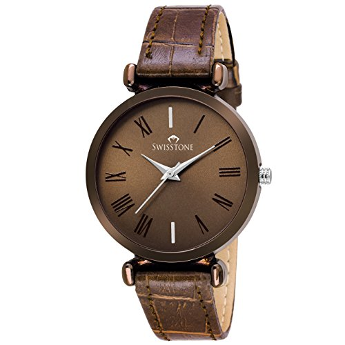 SWISSTONE Analogue Brown Dial Women's Watch (Brown Dial Brown Colored Strap)