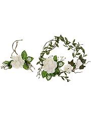 Baoblaze Set of 2 Pieces Women Girls Flower Wreath Crown Xmas Wedding Garland Headband Bracelet Wrist Band Set - Beige