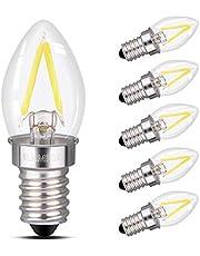 led Night Light Bulbs,ILAMIQI Refrigerator Indicator Light,C7 2W Edison Led Filament Bulb,10W Incandescent Replacement,Torpedo Shape,230V,E14 Base,Daylight Bright White 6000K (6PCS)