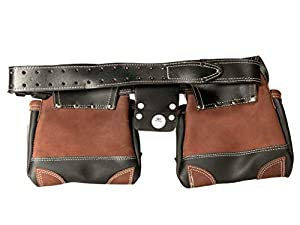 Leather Gold Genuine Leather Framer's Rig Tool Belt 3450 Black, with 10 Sliding Pouches and 3 Hammer Holders | Built Tough for Construction Work | Comfortable All Day | Commercial Grade Quality