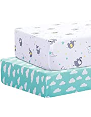 """Lumono Baby Crib Sheet 2 Pack (28"""" x 52""""), Ultra Soft Breathable Cotton Blend Bassinet Fitted Sheets, Crib Sheets Fitted for Boys and Girls, Universal Fitted for Bassinet Pad/Mattress"""