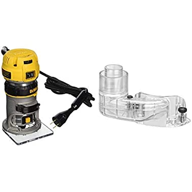 DEWALT DWP611 1.25 HP Max Torque Variable Speed Compact Router with Dual LEDs with DNP615 Compact Router Dust Collection Adapter for Fixed Base Routers