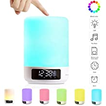 DIKAOU LED Bluetooth Speaker Bedside Touch Sensor Table Lamp Dimmable Warm White Light Color Changing RGB+ Multicolor Alarm Clock Hands-free Timing Function - White
