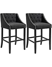 HOMCOM Set of 2 Height Bar Chairs Button Tufted Barstools for Kitchen w/Nailhead Trim, Footrest, Upholstered Seat, Solid Wood Leg, Dark Grey