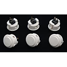 6 pc Set of White Sanwa Push Buttons OBSF-30-W