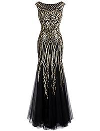 Angel fashions Women's Pattern Sequin Bateau Cap Sleeve Flapper Mermaid Evening Dress