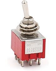 Heschen Miniaturowy przełącznik dźwigniowy MTS-302, ON-ON, 3PDT, 9-biegunowy, 2 A, 250 V, 6 A, 125 V, listy UR, 2 sztuki