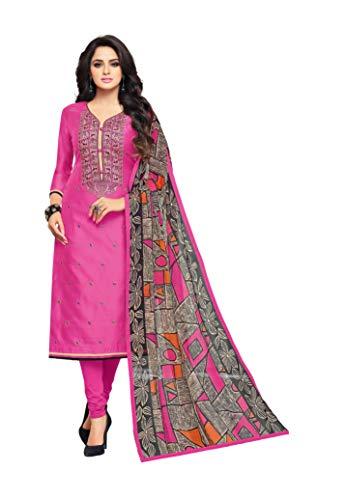 OOMPH! Women Cotton Blend Un-Stitched Salwar Suit with Dupatta Material