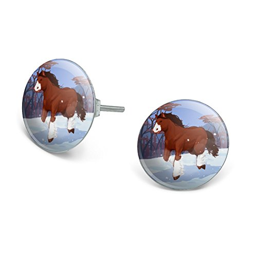 Clydesdale Horse Running in Snow Novelty Silver Plated Stud Earrings