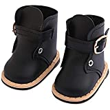 PSFS Cute Fashion Boots, for 18 Inch American Doll Accessory Girl Toy (Black)