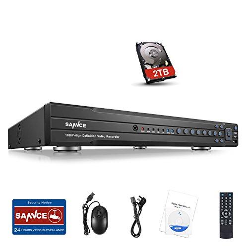 SANNCE 16 Channel AHD 1080P DVR Recorder 2TB Surveillance HDD All