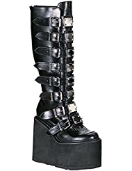 Summitfashions 5 1/2 Inch Platform Boots Trendy Knee High Boots Gothic Boots Black Boots Metal