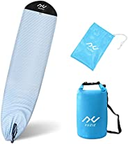 """YUZIZ Surfboard Sock Cover with Collection Bag and Dry Bag, 6'0""""-9'6""""Light Surf Board Protective Case"""