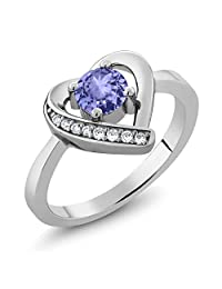 0.55 Ct Round Blue Tanzanite 925 Sterling Silver Heart Ring