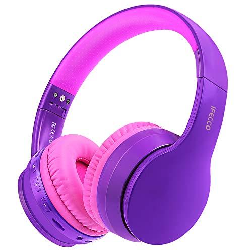 Ifecco Bluetooth Estéreo Auriculares Música sobre-oído Sonido de Alta fidelidad, Bluetooth Banda para la Cabeza Plegable con micrófono y Cable de Audio (Morado Oscuro)