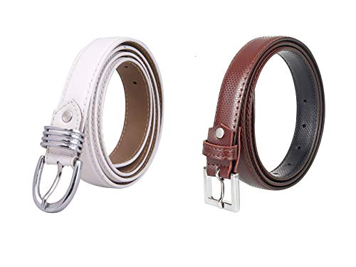 Amicraft Girl's Casual & Formal PU Leather Belt Pack Of 02 (Free Size,White/Brown)