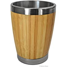 Thick Natural Bamboo Cutlery Cup Holder Tabletop Caddy with Stainless Steel Trim