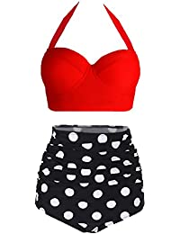 Womens Retro Vintage Polka Underwire High Waisted...
