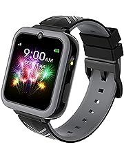 Smartwatch för barn, Barnsmartklocka för flickor och pojkar med spel, MP3-musik, HD-pekskärm, kamera, väckarklocka, samtal, SOS-samtal, studenter barn födelsedagspresent 3-12 år (Svart)