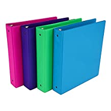 Samsill Fashion Color 3 Ring Binder, 1.5 Inch Round Rings, Storage Binder, 4 Pack Assorted - Electric Pink, Deep Purple, Fern Green, Ocean Blue