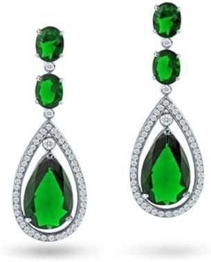 Bling Jewelry Bling Jewely Rhodium Plated Brass CZ Oval Earrings