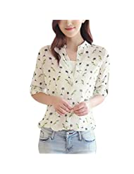 Weixinbuy Womens Bird Printed Chiffon Long Sleeve T Shirt Blouse