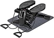 Exercise Stepper, Mini Aerobic Stepper Machine with Display, Low Noise Fitness Stepper Including Resistance Ba