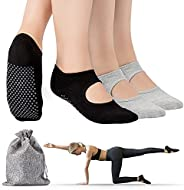 Tusscle Yoga Socks for Women Non-Slip Grips & Straps, Ideal for Pilates,B