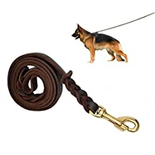 Genuine Leather Braided Dog Leash for German Shepherd,Reddish Brown with Free 2 dog bow ties in Gift Package