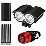 Bike Light Front and Back, PEYOU 2000LM Rainproof Rechargeable 6000mAh XML-T6 LED Owl Bicycle Headlight Plus Cycling Rear Taillight, Easy Installation Bike Light Set for Men Women Kids Road Mountain Bike Night Riding Safety