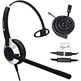 Deluxe Single Ear Noise Canceling Headset and QD U10PS Cable for Yealink T19 T20 T21 T22 T23 T26 T27 T28 T29 T32 T41 T38 T41 T42 T46 T48 T52 T54, Snom and Grandstream IP Phones