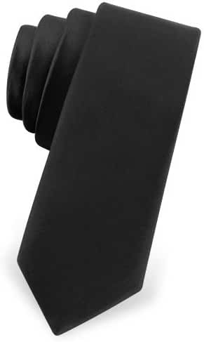 Two Inch Skinny Black Narrow Tie by Elite Solid - Black Silk