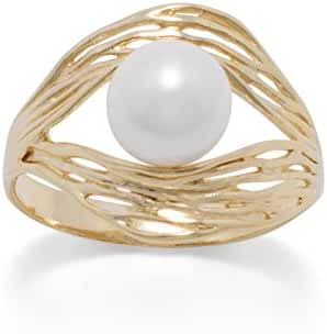 Gold-plated Sterling Silver Cultured Freshwater Pearl Ring with Nest Design