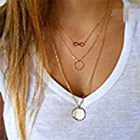 Chicer Multilayer Lariat Necklace, Fashion Pendant Necklace for Women and Girls(Gold).